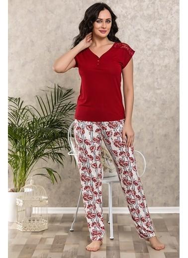 Lingabooms Çiçekli Çizgili Pijama Takım Bordo